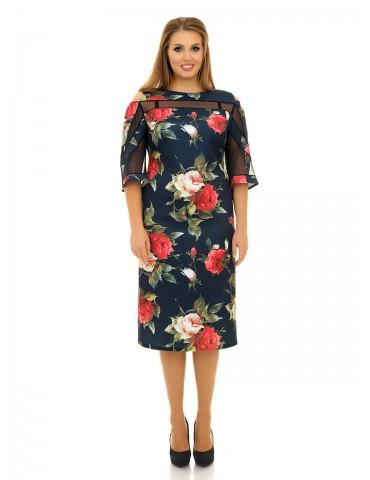 Платье с вырезами на плечах и вставками сетки ДК-1061