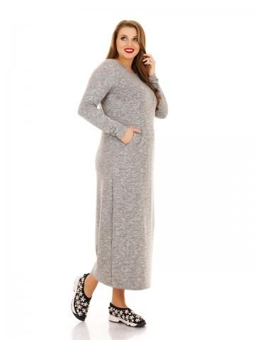 Повседневное платье из трикотажа-петли, св. серое ДК-1120
