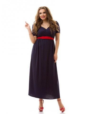 """Нарядное летнее платье большого размера 48-62 """"Декольте-Горошек"""" Арт. 923"""