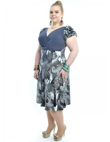 Оригинальное платье большого размера, рюши 125