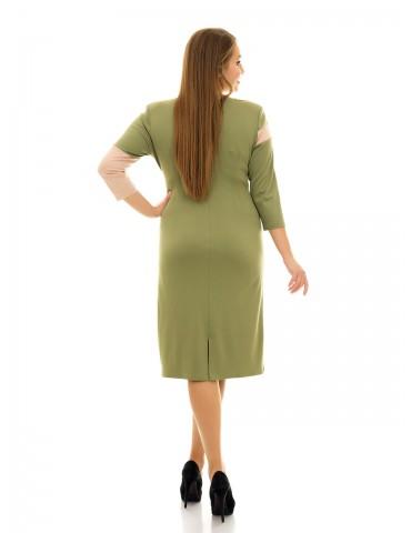 """Платье миди """"Волна"""" цвет оливка ДК-1043"""