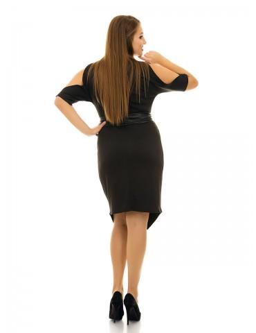 Платье с вырезами на плечах и кожанным поясом черное ДК-1064