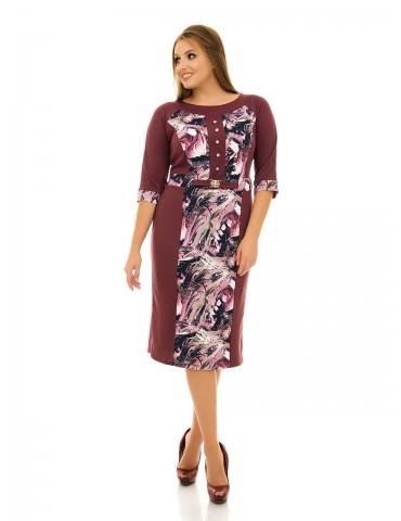 Классическое платье с рукавом реглан батал ДК-1088