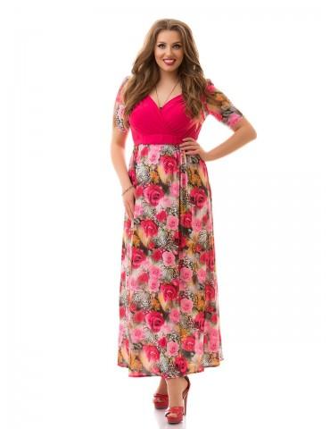 """Нарядное летнее платье большого размера 48-62 """"Декольте-Розочки"""" Арт. 880"""