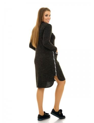 Платье в спортивном стиле, с тесьмой и карманами ДК-1047