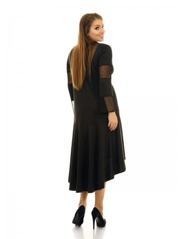 Платье свободного силуэта, вставки сетка ДК-1071