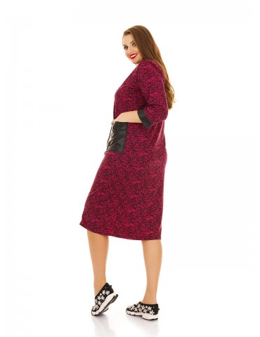 Спортивное платье на змейке и кожаными карманами ДК-1123