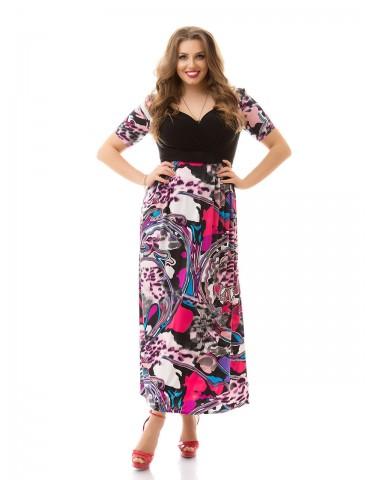 """Нарядное летнее платье большого размера 48-62 """"Декольте-Арт"""" Арт. 873"""