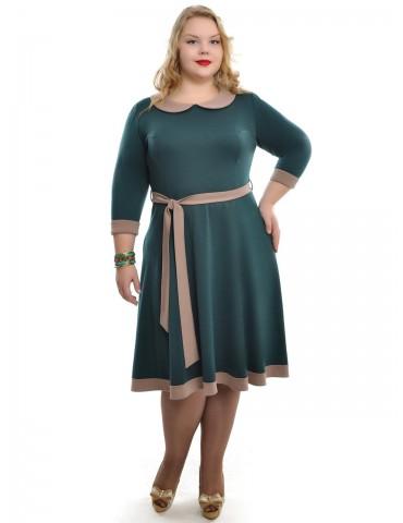 """Платье с расклешенной юбкой и поясом """"Мэри"""" изумруд ДК-508"""