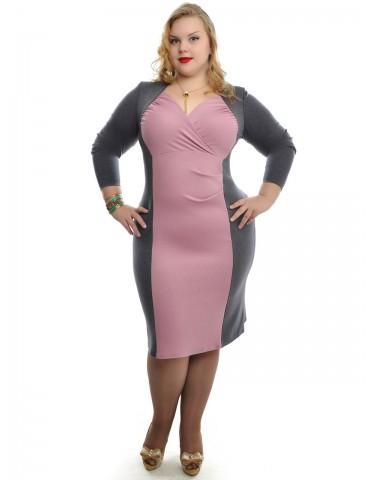 """Платье с декольте """"Николь"""" нежно-розовый+серый ДК-523"""