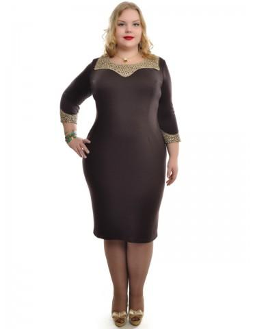 """Платье с отделкой из набивного кружева """"Золото"""" шоколад ДК-537"""