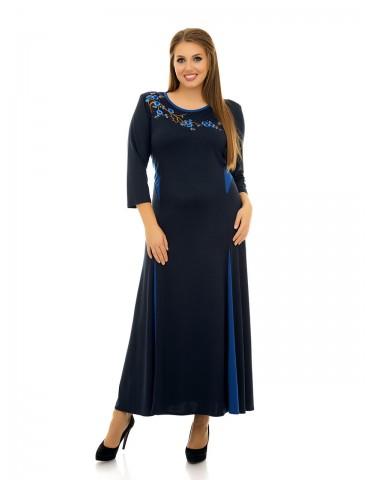 """Платье в пол расклешенное, аппликация """"Сакура"""" т.синее ДК-1077"""