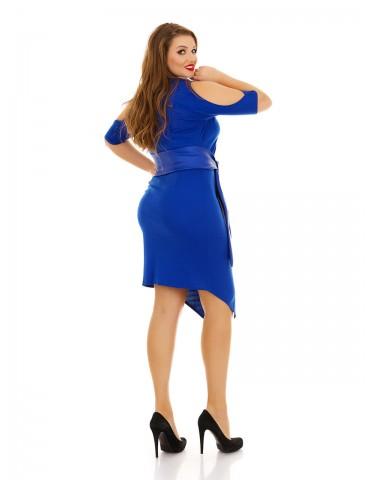 Платье с вырезами на плечах и кожанным поясом электрик ДК-1116