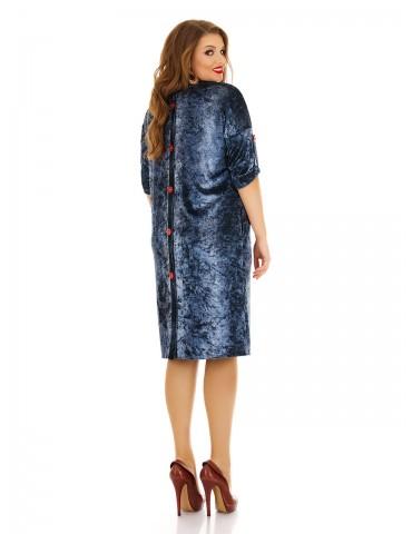 """Велюровое платье """"Под джинс"""" с аппликацией роза ДК-1143"""