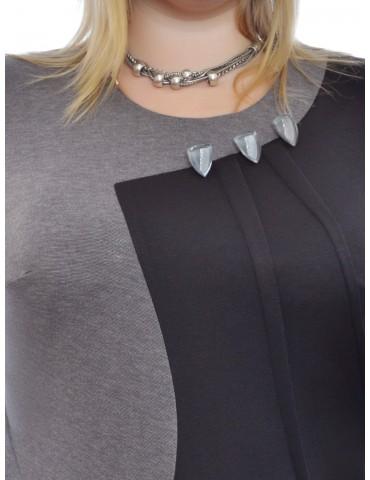 Платье батальное оригинального кроя графит ДК-6