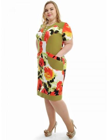 """Повседневное платье больших размеров """"Оливка"""" 735"""