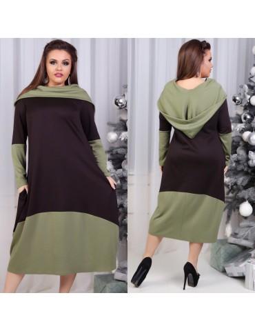 Стильное платье свободного силуэта с большим капюшоном, оливка+шоколад ДК-1091