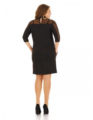 Платье с воротничком и вставками сетка-горох ДК-1139