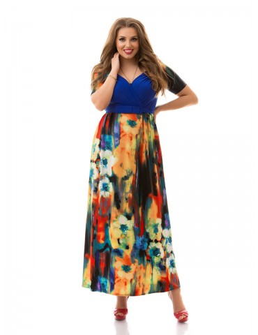 """Нарядное летнее платье большого размера 48-62 """"Декольте-Акварель"""" Арт. 885"""