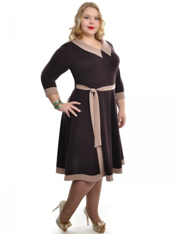 """Платье расклешенное с поясом """"Мэри"""" шоколад ДК-512"""
