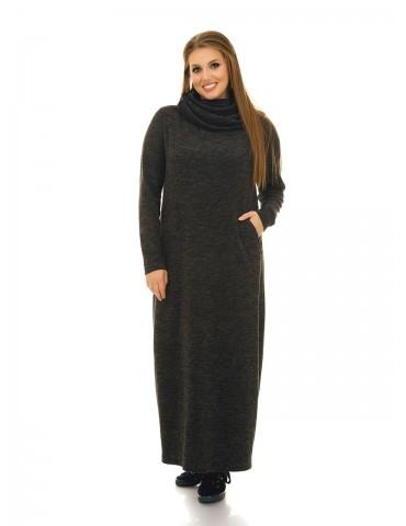 Платье в пол из ангоры с богатым хомутом, темно-серое ДК-1058