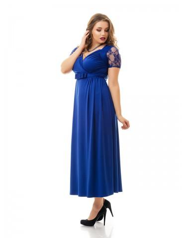 """Нарядное летнее платье большого размера 48-62 """"Декольте-Гипюр"""" Арт. 843"""