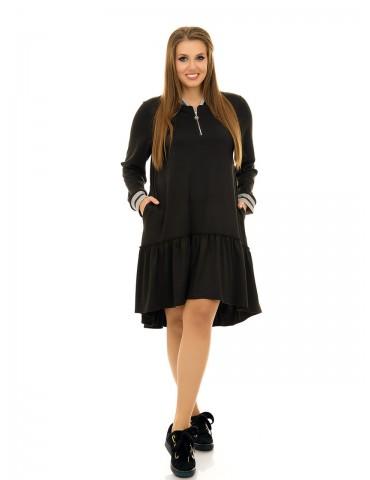 Платье в спортивном стиле, с пышной оборкой ДК-1036
