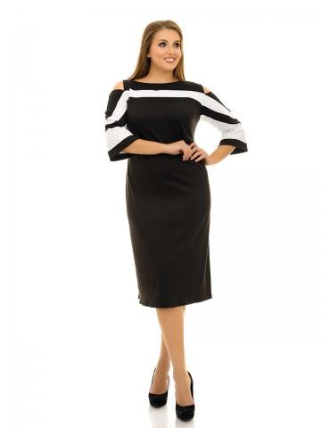 Платье с вырезами на плечах и оригинальными рукавами ДК-1059