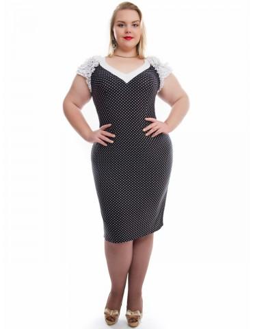 Платье женское в горошек с коротким рукавом размеры 48-62, Арт. 137