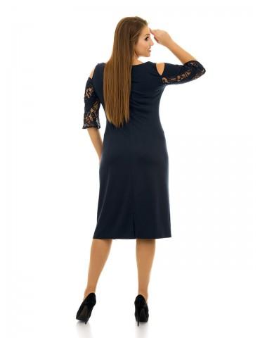 Платье с вырезами на плечах и гипюровым вставками ДК-1060