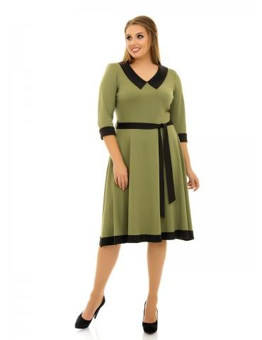 """Платье с расклешенной юбкой и поясом """"Мэри"""" оливка ДК-1083"""