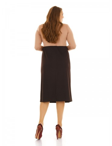 Платье с завышенной талией батал, шоколад+беж ДК-1115