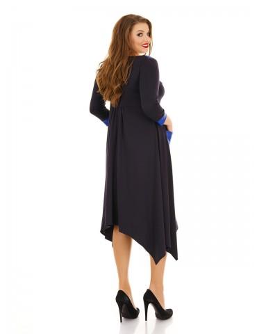 Платье ассиметричный низ, карманы из эко-кожи ДК-1138