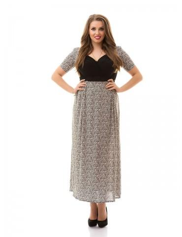 """Нарядное летнее платье большого размера 48-62 """"Декольте-Мелкий принт"""" Арт. 902"""