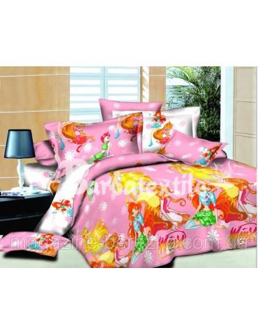 Детское постельное фея ВИНКС - большая, рисунок 3Д. Ткань бязь 0584-2 ( с одной наволочкой)