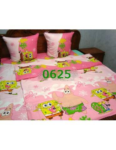Детское постельное РАНФОРС, Губка БОБ на розовом фоне рисунок 3Д 0625