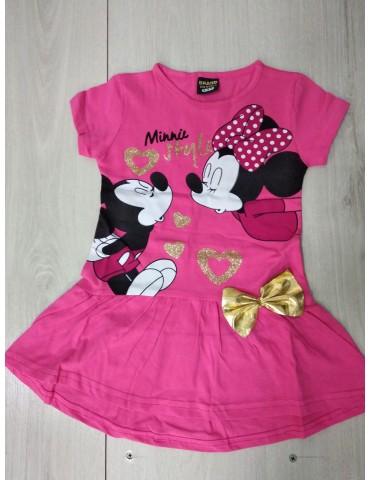 Летнее платье для девочки Микки-золотой бантик, размер 3-6 лет