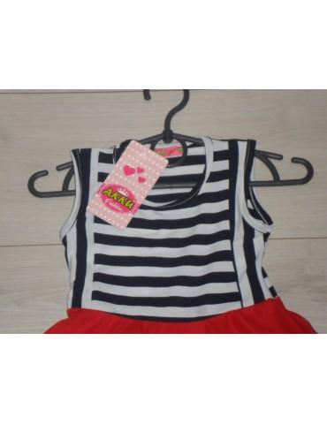Платье детское, верх в полосочку+красная юбка. Размер 4 года