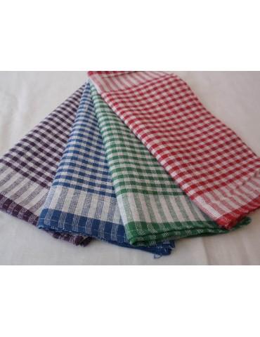 Льняные полотенца в клетку. р. 33*57см , в уп 12 шт 407