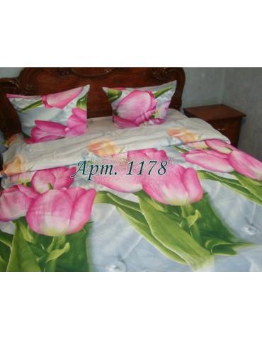 Двуспальный комплект постельного белья из ранфорса, рисунок 3Д, 100% хлопок, Арт.1178