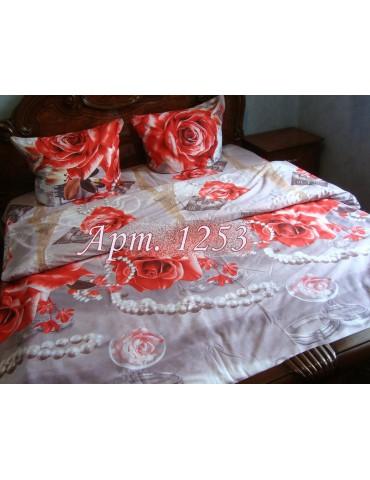 Двуспальный комплект постельного белья из ранфорса, рисунок 3Д, 100% хлопок, Арт.1253