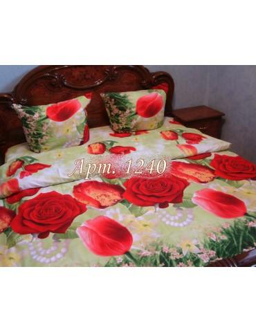 Евро-комплект постельного белья из ранфорса, рисунок 3Д, 100% хлопок, Арт1240