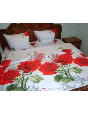 Евро-комплект постельного белья из ранфорса, рисунок 3Д, 100% хлопок, Арт1183