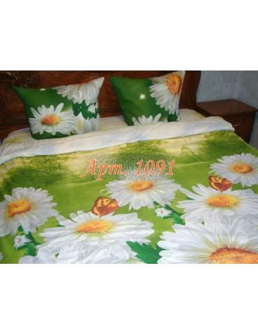 Евро-комплект постельного белья из ранфорса, рисунок 3Д, 100% хлопок, Арт1091