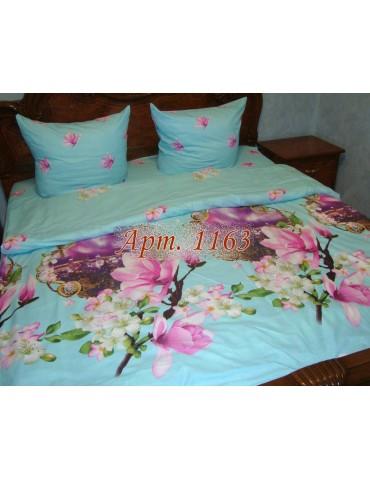 Евро-комплект постельного белья из ранфорса, рисунок 3Д, 100% хлопок, Арт1163
