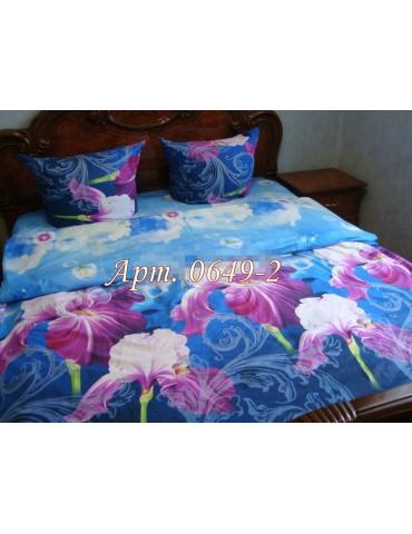 Евро-комплект постельного белья из ранфорса, рисунок 3Д, 100% хлопок, Арт0649-2