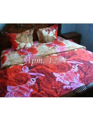 Евро-комплект постельного белья из ранфорса, рисунок 3Д, 100% хлопок, Арт. 1254