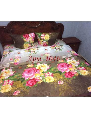 Евро-комплект постельного белья из ранфорса, рисунок 3Д, 100% хлопок, Арт1046