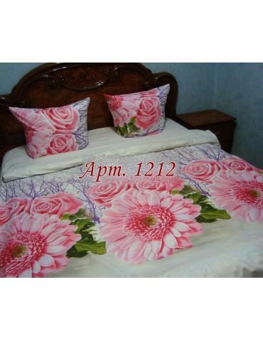 Евро-комплект постельного белья из ранфорса, рисунок 3Д, 100% хлопок, Арт1212