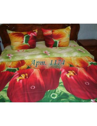 Полуторный комплект постельного, ранфорс, рисунок 3Д, 100% хлопок, Арт. 1174